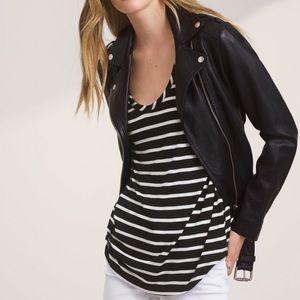 Aritzia Valmere Black & White Striped T-Shirt